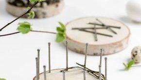 Osterkörbchen flechten mit Baumscheiben