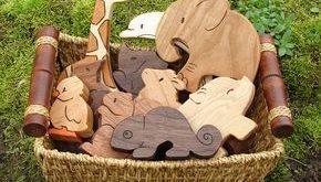 PICK ANY VIER Holzspielzeug Tiere – Holzspielzeug – alle natürlichen Zähne und Waldor