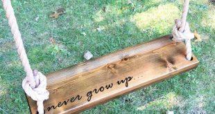Niemals aufwachsen Holzseilschaukel   Dark Wood Tree Swing   Outdoor Holzschauke...