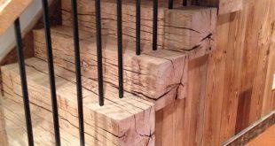 Reclaimed barn beam stairs #barnwood
