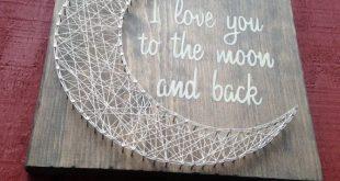 Reserviert - ich liebe dich bis zum h und zurück - String Art - Moon - Geschenk für Kind - Handmade